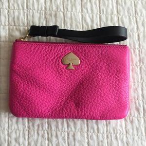 NWOT Kate Spade florescent pink leather wristlet